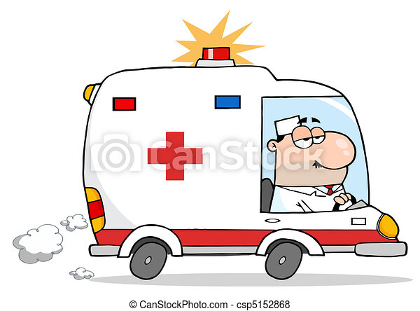 Male Doctor Driving Ambulance  - csp5152868