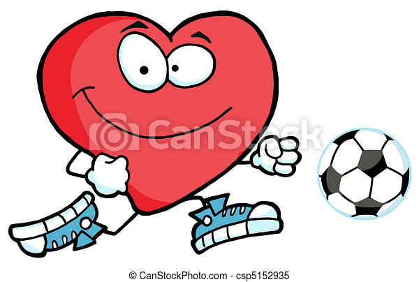 Red Heart Chasing A Soccer Ball - csp5152935