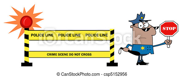 Police Line And Police Officer - csp5152956