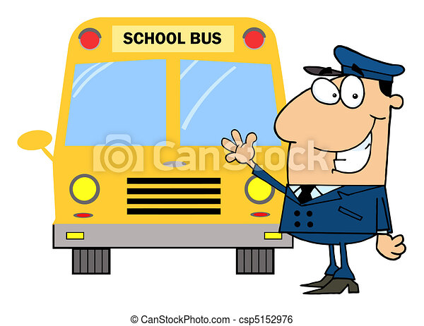 Driver In Front of School Bus  - csp5152976