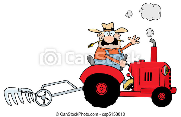 Caucasian Farmer Driving A Tractor - csp5153010