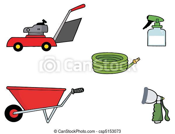 Digital Collage Of Gardening Tools - csp5153073