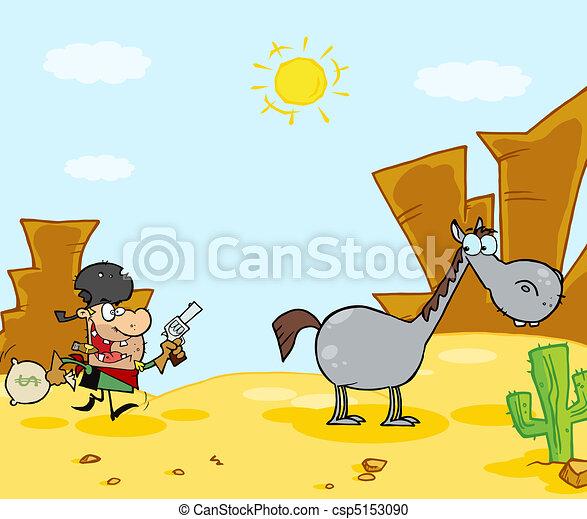 Cowboy Escapes To His Horse  - csp5153090