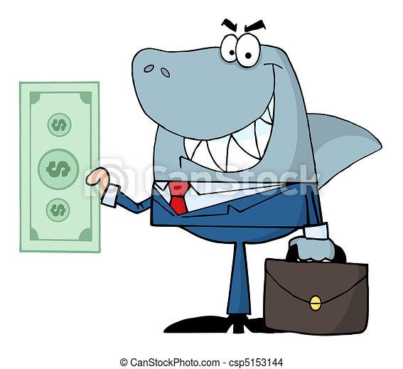 Shark Businessman Holding A Dollar  - csp5153144