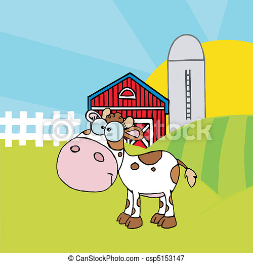 Spotted White Calf In A Pasture - csp5153147