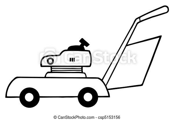 Lawn Mower Drawings Outlined Lawn Mower