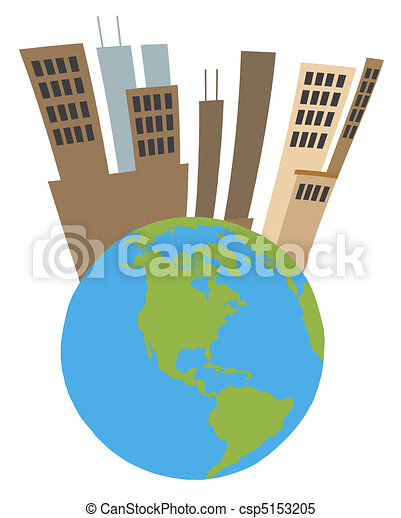 Tall City On Top Of A Globe - csp5153205