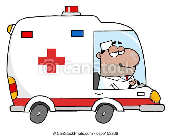 Hispanic Male Ambulance Driver - csp5153239