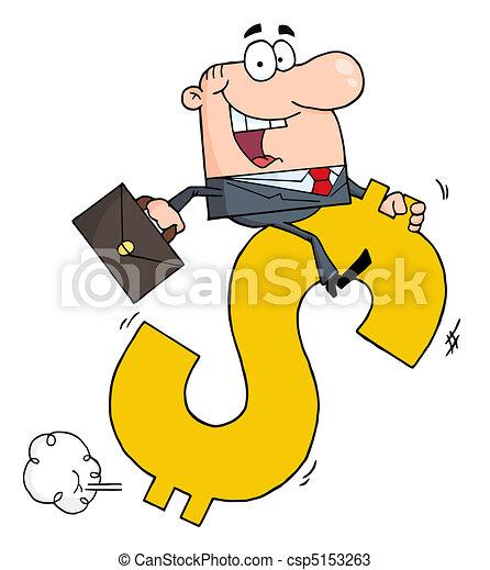 Businessman Riding On A Dollar  - csp5153263