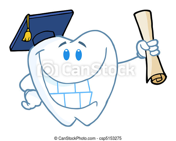 Graduate Tooth Holding A Diploma - csp5153275