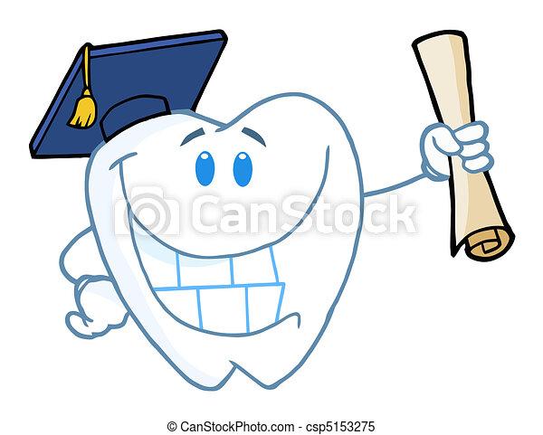 Graduate Tooth Holding A Diploma  - csp5153275