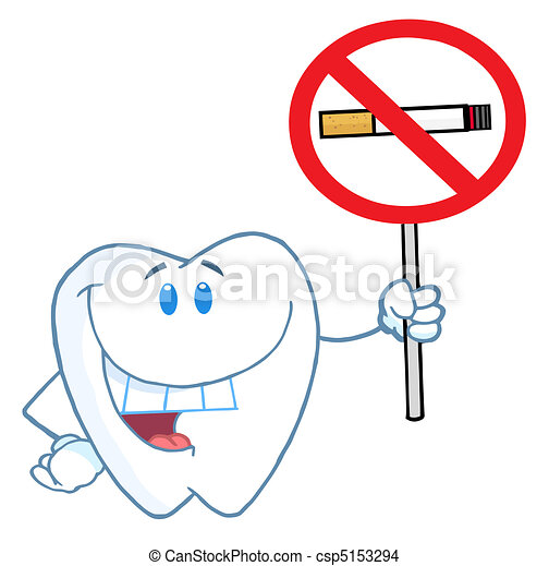 Tooth Holding Up A No Smoking Sign  - csp5153294
