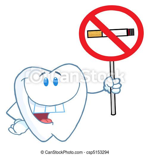 Tooth Holding Up A No Smoking Sign  - csp5153294