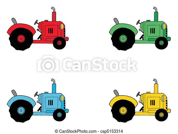 Digital Collage Of Farm Tractors - csp5153314