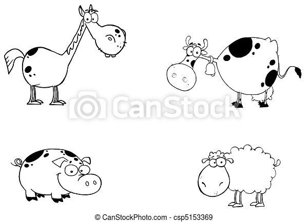 zagroda, Zwierzęta, rysunek, Litery, komplet - csp5153369