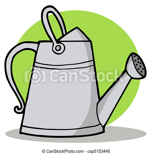 Clipart vector of metal gardening watering can gardening for Gardening tools cartoon