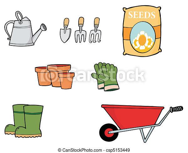 Vecteurs eps de collage outils jardinage num rique for Dessin outils jardinage