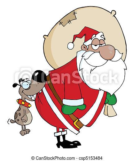 Dog Biting A Black Santas Butt - csp5153484