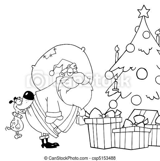 Outlined Dog Biting Santas - csp5153488