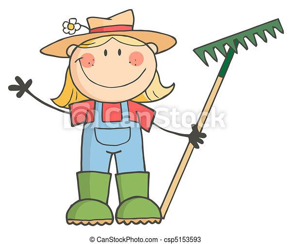 Gardening Girl Waving A Greeting  - csp5153593