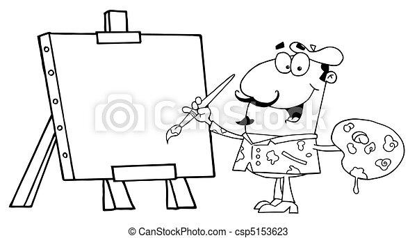 Vector van schilder - Geschetste, man, schilderij, op, doek ...