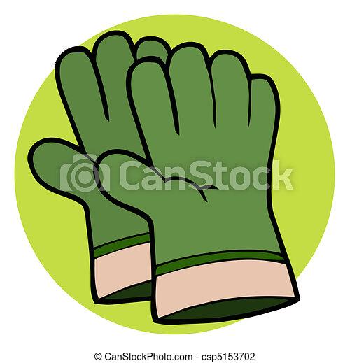 Pair Of Green Gardening Hand Gloves - csp5153702