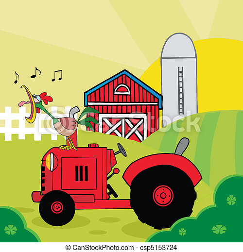 Rooster Crowing On A Tractor - csp5153724
