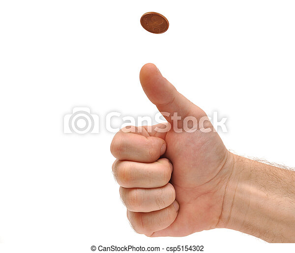 Man's hand throwing up a coin to make a decision  - csp5154302