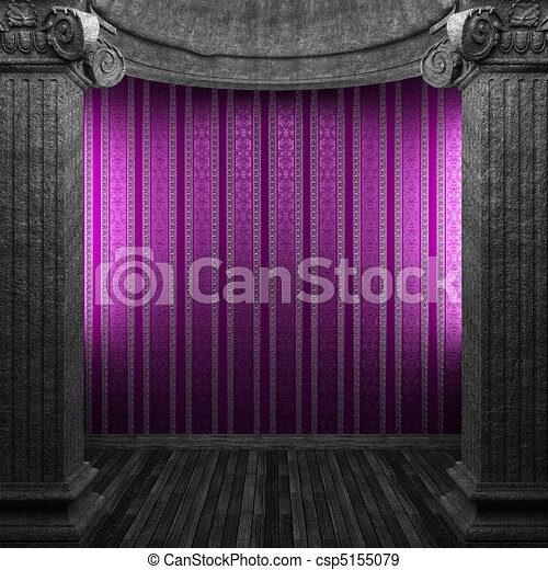 stone columns and wallpaper  - csp5155079