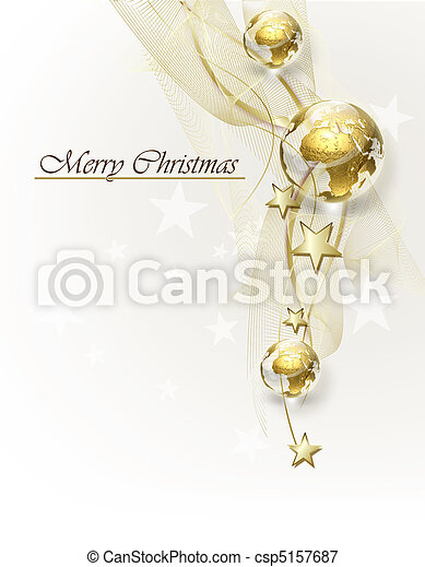 Christmas background with golden globes - csp5157687