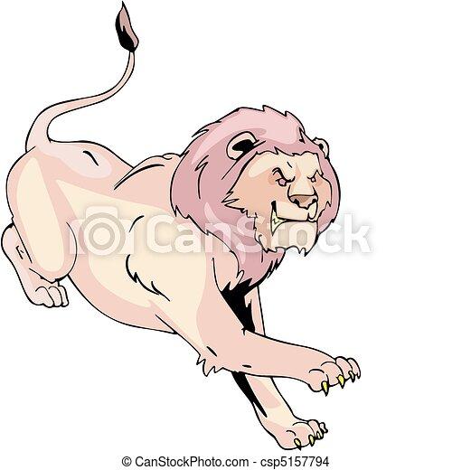 Aggressive running lion - csp5157794