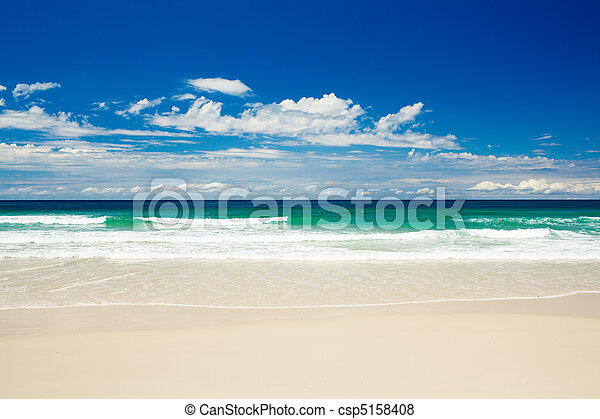 Tropical beach on sandy Gold Coast beach - csp5158408