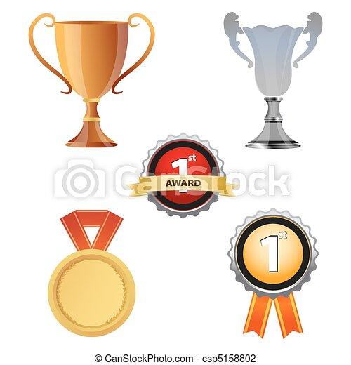 Vector Illustration of reward icons - illustration of reward icons ...