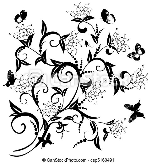 pattern of flowering bush with butterflies - csp5160491