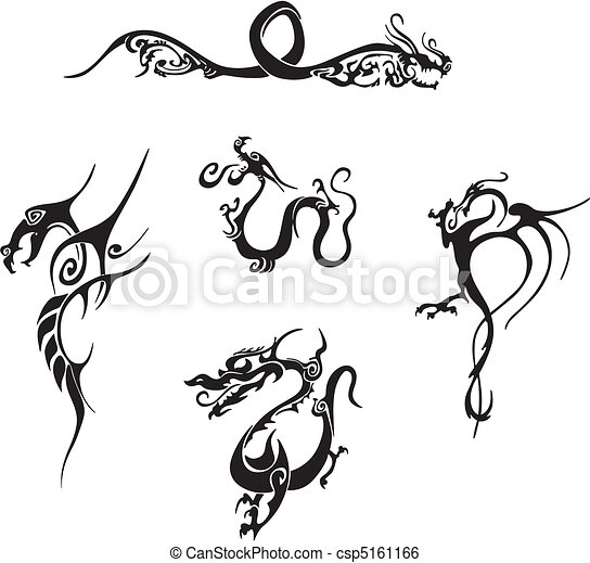 ... dragon tattoo designs. Vinyl-ready EPS Illustrations, black and white
