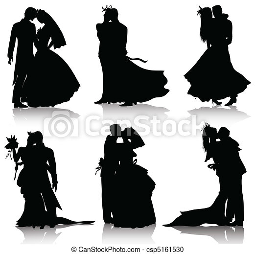 vector clipart of wedding silhouettes bridal  wear  love wedding couple clipart black and white married couple cliparts
