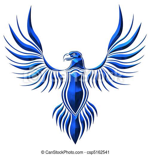 blue chromed hawk illustration - csp5162541