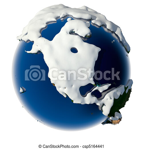 Clipart of Planet Earth is covered by snow drifts - Relief planet ...