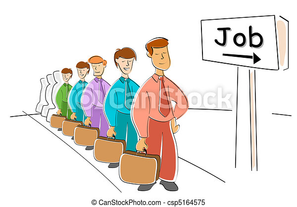 men waiting for job - csp5164575