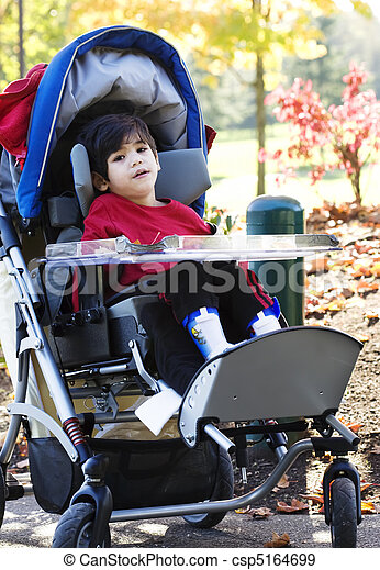 Disabled boy with cerebral palsy in medical stroller enjoying an autumn day outdoors at the park - csp5164699
