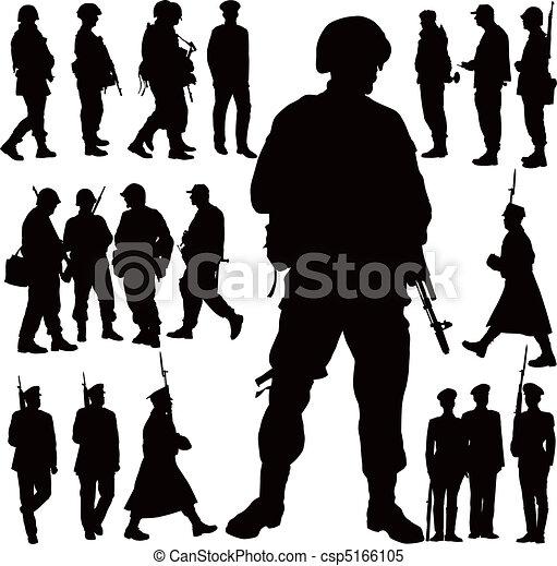 militär,  silhouettes - csp5166105