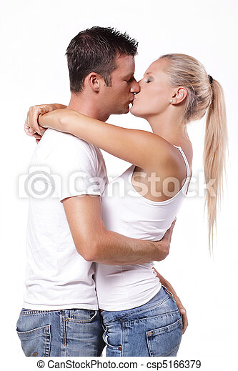 Sexy young couple kissing - csp5166379