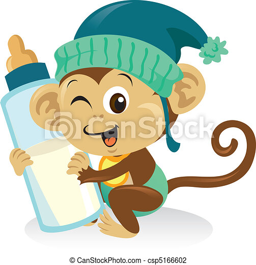 Cute baby monkey holding a large milk bottle. - csp5166602