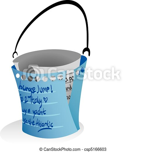 Illustration of note papers forming a 'bucket' to symbolize the word 'bucketlist' - csp5166603