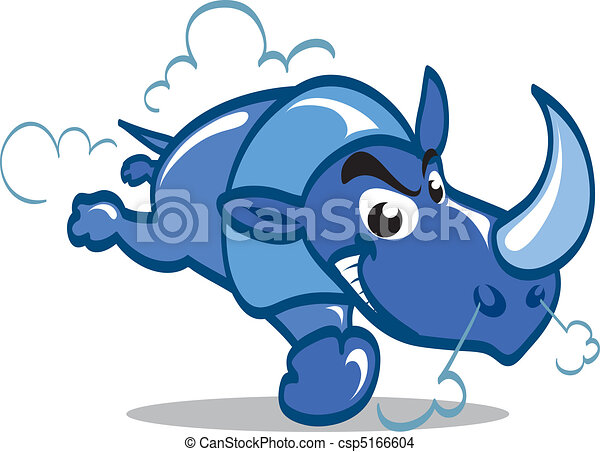 Cartoon blue rhino charging furiously. - csp5166604