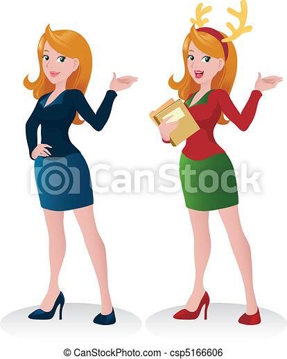 Beautiful Business Woman Presentation - Christmas Theme - csp5166606