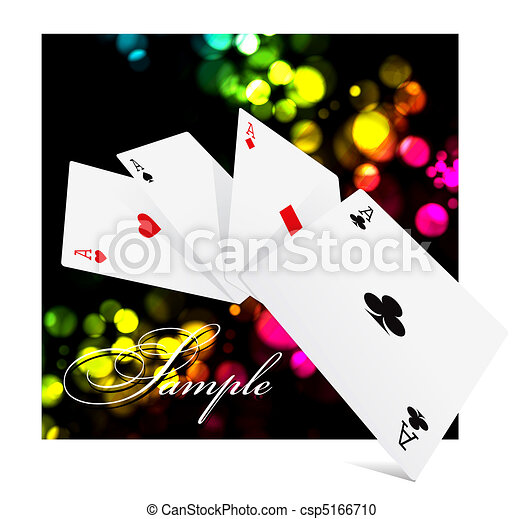 Four aces over colorful clubs background - csp5166710