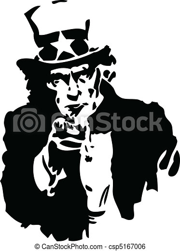 Uncle Sam Black and White - csp5167006