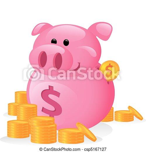 zabawny, rysunek, Od,  à, świnka,  bank - csp5167127
