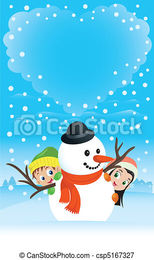 Illustration of a boy and girl hiding behind a snowman with heart-shaped clouds on the background. Great spacing for text, perfect for any Christmas or Valentine needs. - csp5167327